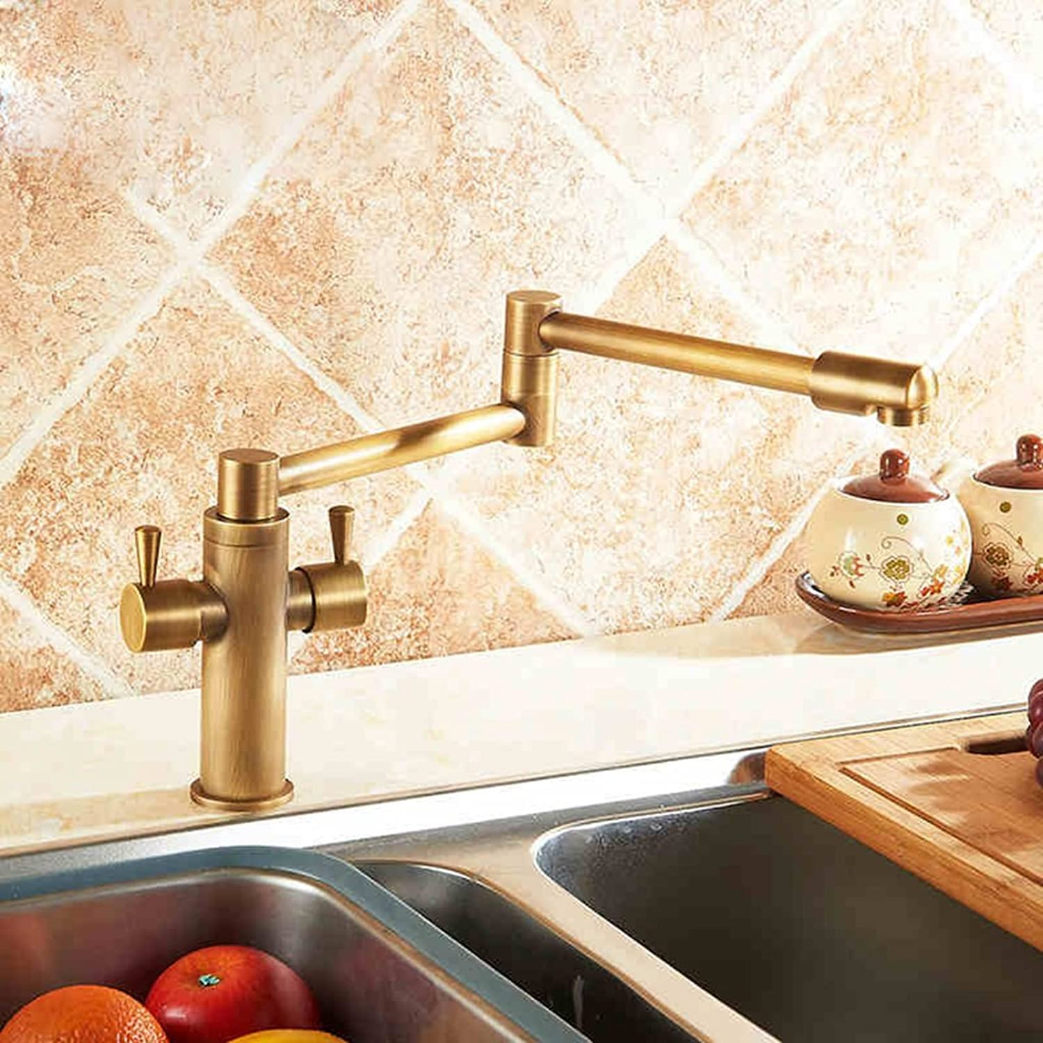 YMSLT Bathroom Basin Taps European antique kitchen faucet hot and cold all copper collapsible telescopic vegetables basin sink faucet 360 redation Sink Taps