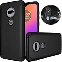 Dretal Motorola Moto G7 Case, Moto G7 Plus Case, Shock-Absorption Armor Anti-Slip Texture Protective Case Cover with Embedded Metal Plate for Magnetic Car Mounts (Black)