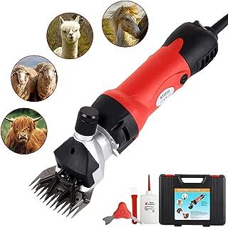 SUNCOO Professionnal Sheep Shears 350W, Farm Electric Clippers for Goats, Alpaca, Llamas, Horse,Cattle, Large Dog Farm Livestock,Heavy Duty Potable Animal Hair Fur Grooming Cutter (Red)