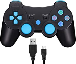 Wireless Controller for PS3, Double Shock Sixaxis Game Remote Customized Gamepad for Sony Playstation 3 PS3, Play and Charge Cable Included