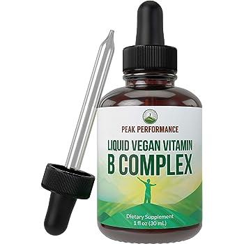B Complex Liquid Drops Vegan Supplement. Best 5 B Vitamins with B3 Niacin, B6, B7 Biotin, B9 Folate, Methylcobalamin B12. B-Complex for Hair, Skin Nails, Energy, Stress Relief. for Adults, Men, Women