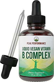 B Complex Liquid Drops Vegan Supplement. Best 5 B Vitamins with B3 Niacin, B6, B7 Biotin, B9 Folate, Methylcobalamin B12. ...