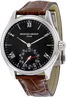 Frederique Constant Men's Horological Smart Watch Stainless Steel Swiss-Quartz Leather Calfskin Strap, Brown, 21 (Model: FC-285B5B6)