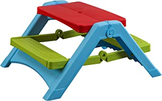 Pal Play Foldable Kids Picnic Table - Seats Four Kids, Red/Green/Blue