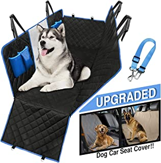 Dog Car Seat Cover Waterproof Hammock protects all back-seat area. Mesh Viewing Window, 4 Storage Pockets, Zipper Side Fla...