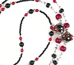 Black and Red Daisies, Beaded Lanyard for Women, Badge, ID Holder, Keychain, Lanyard for Teacher, Nurse or Office, Teacher Gift, Nurse Gift, 34 inches, Lampwork Beads, Crystal, Handmade