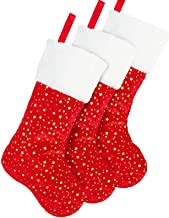 DegGod 3 Pack Red Christmas Stockings Set, 18 inches Golden Star Xmas Stocking with White Plush Trim for Farmhouse Rustic ...