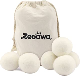 Wool Dryer Balls, Zooawa Reusable Natural Fabric Softener Reduce Wrinkles and Shorten Drying Time Washing Drying Ball, 6 Pieces