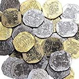 Extra Large Metal Pirate Treasure Coins - 500 Gold and Silver Doubloon Replicas - Toy Pirate Coins