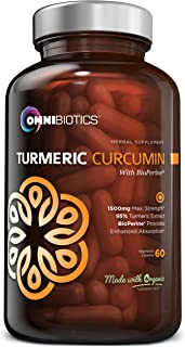 Organic Turmeric Curcumin Supplement 1500mg with BioPerine | 95% Standardized Curcuminoid Extract & Organic Root Powder wi...