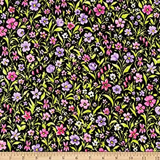 Robert Kaufman 0567772 Kaufman London Calling Lawn Purple Flowers Fabric by The Yard,