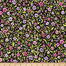 Robert Kaufman 0567772 Kaufman London Calling Lawn Purple Flowers Fabric by The Yard,