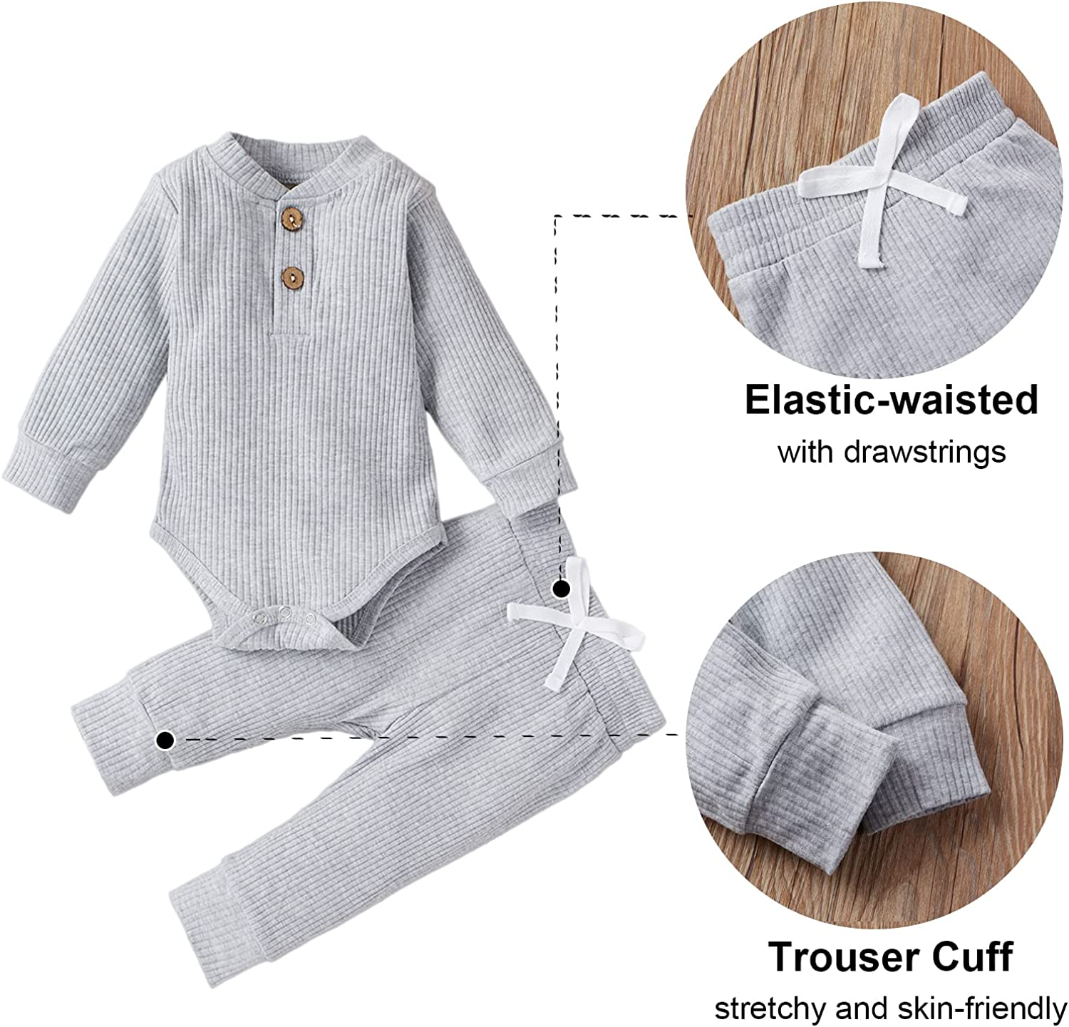 HZYKOK Newborn Baby Boy Girl Clothes Set Unisex Infant Ribbed Outfits Solid Cotton Long Sleeve Tops Pants 2PCS
