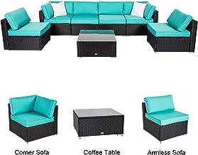 Kinbor 7 PC All-Weather Black Rattan Wicker Sofa Set, Garden Patio Furniture Sectional Sofa Cushioned, Outdoor Conversation Set