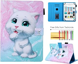 7 inch Tablet Universal Case, Techcircle Cute Stand Flip Protective Cover Case with Pen Holder, for RCA Voyager III, Fire 7, Google Nexus 7, Huawei, Samsung and More Android Tablet, White Kitten