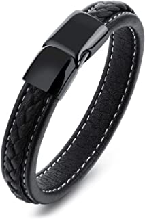 Pure titanium black leather bracelet mens Leather Bracelet STYSL294