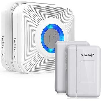Fosmon WaveLink 51036HOMUS Wireless Door Open Chime (150M/500Feet, 58 Tunes, 5 Volume Levels, LED Indicators) 2 Magnetic Door Entry Alert Security Contact Sensors, 2 Wireless Doorbell Plugin Receivers