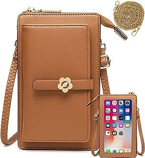 Handy Umhängetasche Geldbörse Damen Touchscreen Handtasche zum Umhängen Leder Schultertasche Klein Handy Tasche für iPhone...