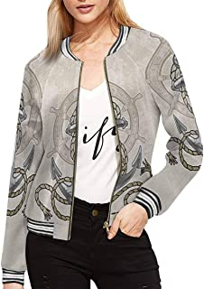 INTERESTPRINT Women's Old Anchor and Helm with Rope Baseball Bomber Jacket