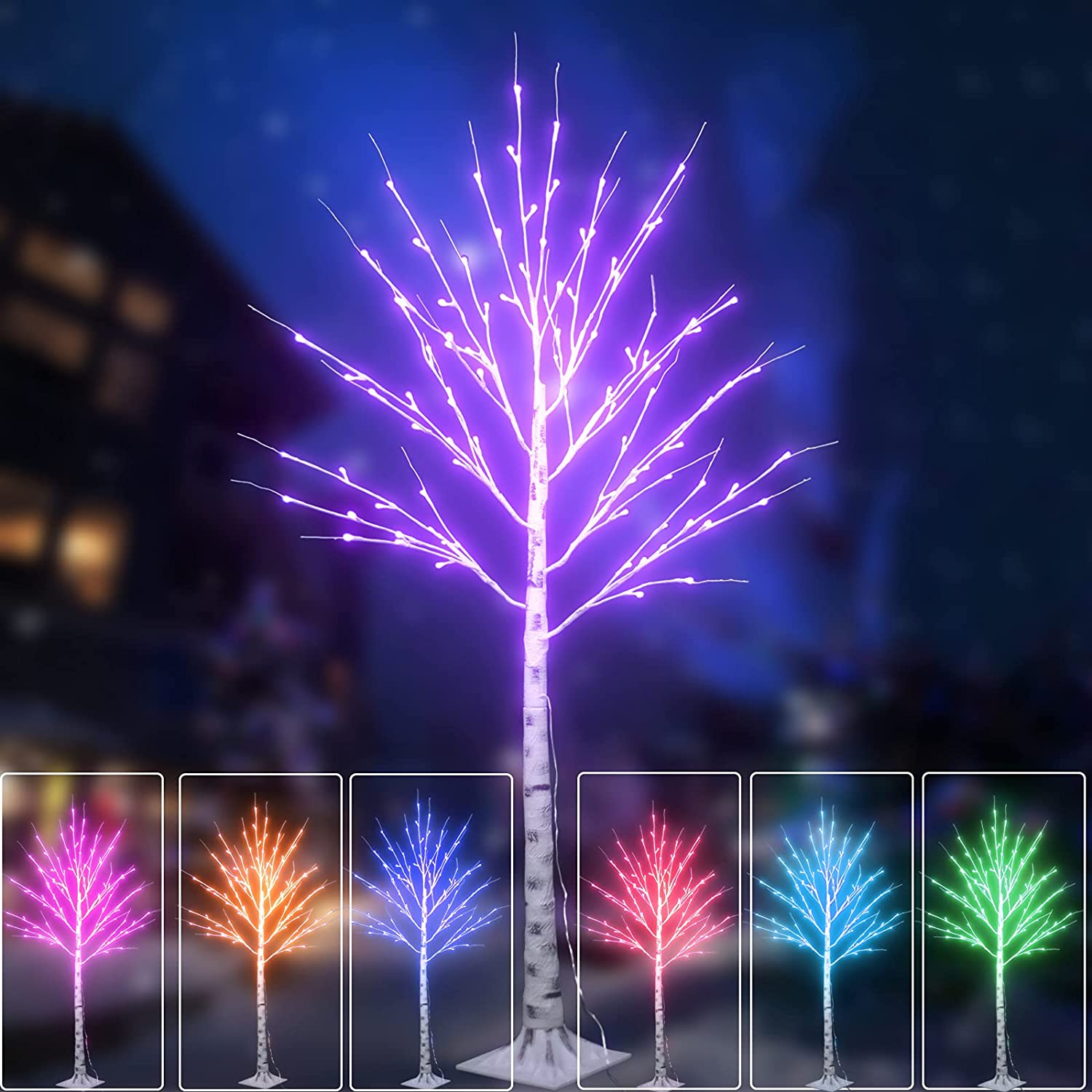 Ranking TOP2 Lighted Colourful Birch Tree 16 Christmas free Changing L Colors