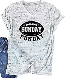 Women Sunday Funday Football Sport T-Shirt Short Sleeve Casual Letter Print Shirt Top