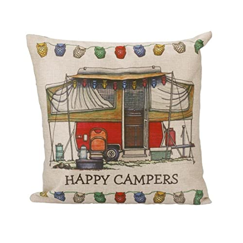 44c5fce9f35 Perman Creative Letter Printing Pillow Case Sofa Waist Throw Cushion Cover  Home Decor (Happy campers