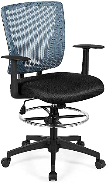 Giantex Mesh Drafting Chair With Footrest Ring Adjustable Height And Lumbar Support Mid Back Swivel Rolling Executive Chair For Standing Desk Home Sturdy Office Furniture Black Blue