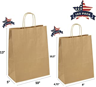 QUTUUS Kraft Paper Bags with Handles Bulk 10x5x13 and 8x4.75x10.5 Totally 100 Pcs Brown Gift Bags, Paper Shopping Bags, Recycled Brown Bags, Kraft Bags, 50 pcs Each Size
