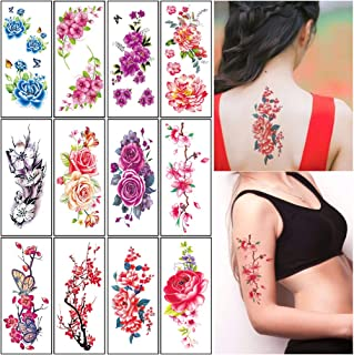 Flower Temporary Tattoos Stickers for Women Adults Large Rose Floral Realistic Fake Tattoo Sexy Temp Tattoo Paper Body Art Arm Leg Sternum Forearm Back Waterproof Tattoo Stickers 12 Sheets