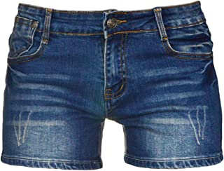 PHOENISING Women's Sexy Denim Fabric Short Pants Comfy Stretchy Shorts,Size 2-16