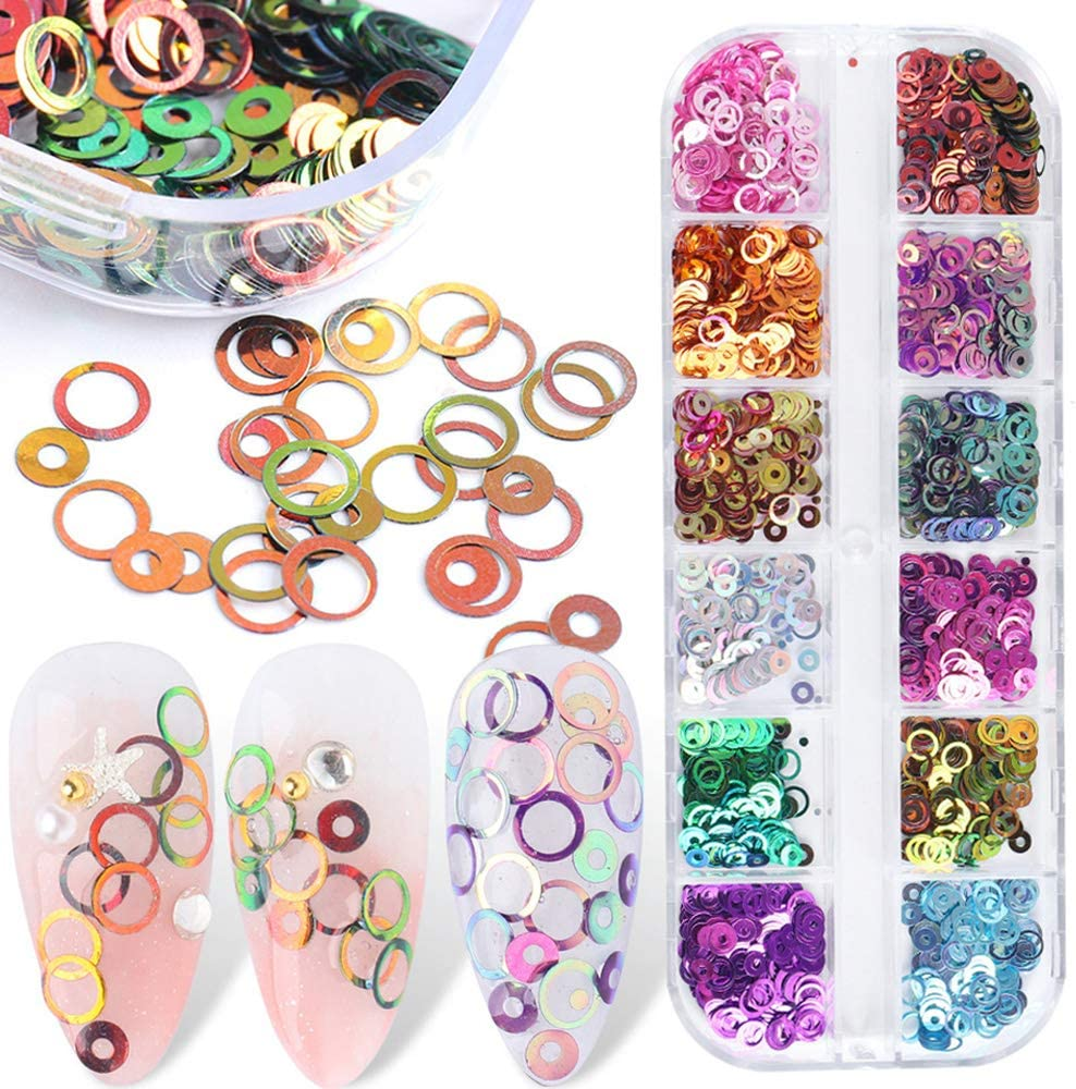 Nail Glitter Holographic Circle Factory outlet Sequins Round 3D Free shipping anywhere in the nation 12 Colors
