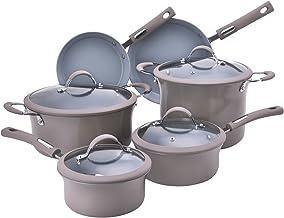 Hamilton Beach 10pc Aluminum Cookware Set, 3.0mm, Champagn, Grey Ceramic Coating Interior - HAE601