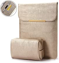 KALIDI Laptop Sleeve 12.9 inch for iPad Air iPad Pro 2016-2018 Apple Pencil, for Surface Pro Card Case Faux Suede Leather (iPad Pro/Air 12.9 inches, Gold #3)
