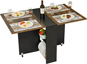 Tiptiper Folding Dining Table with 6 Wheels, Folding Kitchen Table with 2-Layer Storage Shelf, Space Saving Dining Table for Small Apartment, Rustic Brown and Black