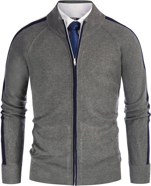 PJ PAUL JONES Men's Contrast Color Long Raglan Sleeve Zip Up Cardigan Sweater