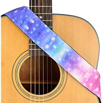 CLOUDMUSIC Guitar Strap Galaxy Pink Purple Stars Pattern Fabric For Acoustic Electric Guitar