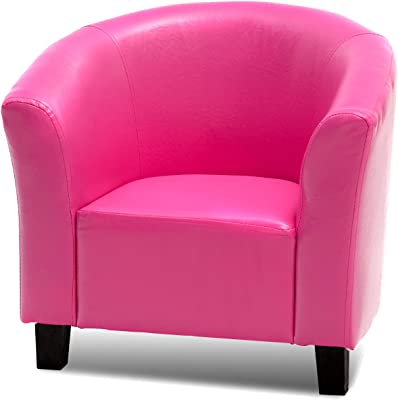 """Costzon Kids, Tub Chair Couch Children Living Room Toddler Furniture (PU Leather, Rose) Sofas, 22"""" x 16.5"""" x 16"""" (LxWxD)"""
