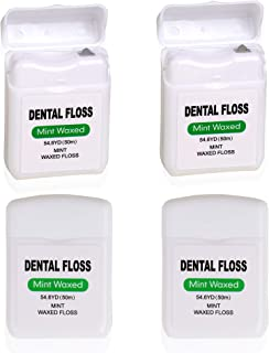 Sponsored Ad - 4 Pack Waxed Dental Floss for Plaque and Food Removal, Refreshing Mint Flavor Deep Clean Floss - Natural Wa...