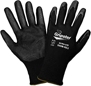 Global Glove 550B Gripster Ultra Light Nitrile Glove with Knit Wrist Liner, Work, Large, Black (Case of 72)