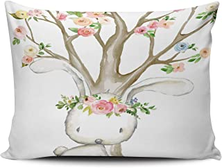 Fanaing Bedroom Custom Decor Boho Woodland Bunny Floral Baby Nursery Pillowcase Soft Zippered Coloured Throw Pillow Cover Cushion Case Fashion Design One-Side Printed Standard 16x24 inches