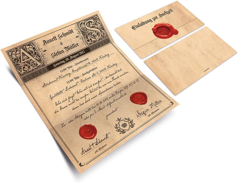 Hochzeitseinladungen (30 Stück) - - - Siegelbrief - Hochzeitskarten Brief Wickelfalz mit Aufkleber B01N6CE2Z0 | Modern Und Elegant In Der Mode  19da12