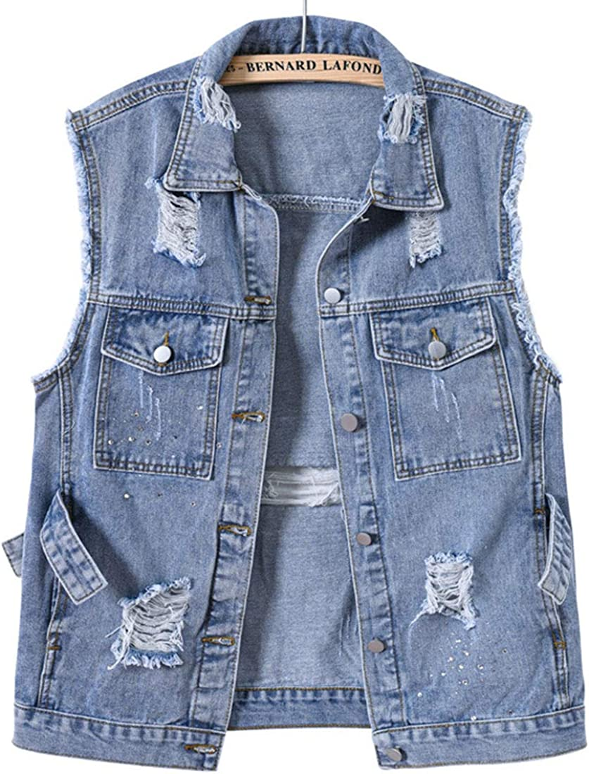 ebossy Women's Distressed Jean Vest Button Up Sleeveless Ripped Out Washed Denim Jacket