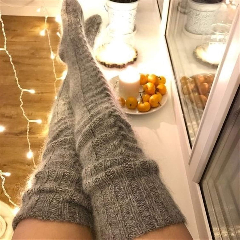 YTBUBOR Pink Warm Thigh High Socks for Ladies Girls Knee Socks Women Winter Sexy Knitted Long Socks Women Long Stockings (Color : Black)