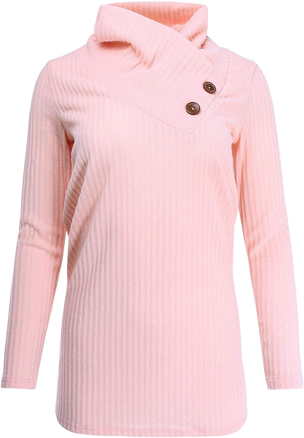 Ladies' Code Women's Cowl Neck Button Detail Ribbed Knit Sweater Top