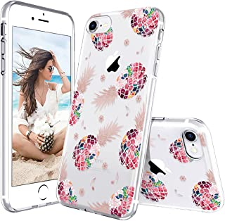Lontect Compatible iPhone 8 Case, iPhone 7 Case, Slim Bumper Cushion Crystal Clear Floral Pineapple Soft Flexible TPU Cove...