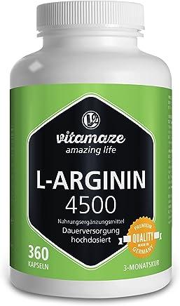 Vitamaze L-Arginina 4500 mg alta dosaggio | 360 capsule per 3 mesi | prodotto di qualità privo di magnesio stearato