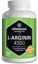 Vitamaze L-Arginina 4500 mg alta dosaggio - 360 capsule per 3 mesi - prodotto di qualità privo di magnesio stearato