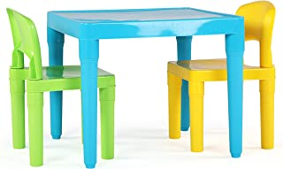 Tot Tutors TC800 Kids Table and 2 Chairs Set, Aqua/Green Yellow, Toddler, Green&Yellow