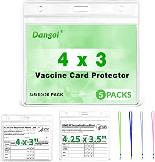 Dangoi 5PCS Vaccination Card Holder - Vaccine Card Protector Waterproof 4X3 with Varied Colors Lanyards - Waterproof Covid...