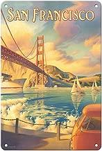 8in x 12in Vintage Tin Sign - San Francisco, California - Golden Gate Bridge - Marin Headlands by Kerne Erickson